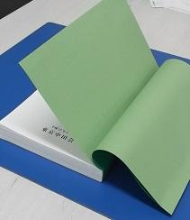 緑の色紙の部分が『見返し』です。表紙側は表紙に貼りつけてあります。(色上質紙うぐいす厚口)